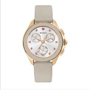 MICHELE Cape Chrono Watch in Taupe/ Rose Gold NWT